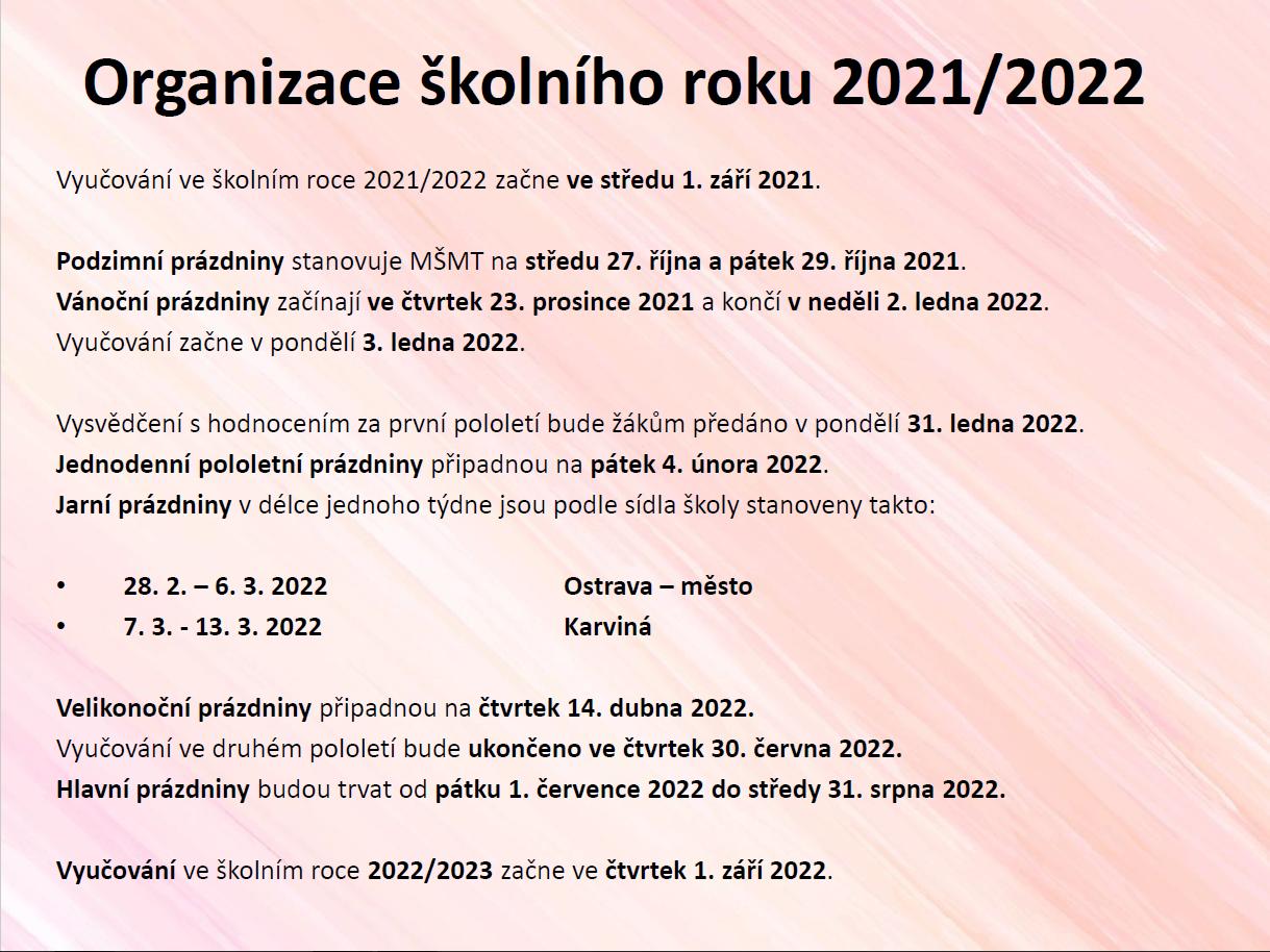 Organizace školního roku 2021-2022